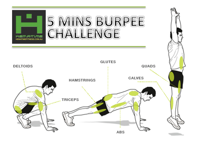 Bodyweight workout - Hematime Fitness 5 mins Burpee Challenge